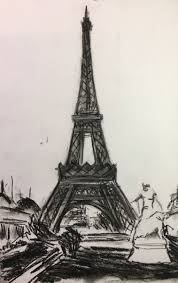 eiffel tower charcoal drawing paris jpg