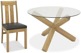 bentley designs turin light oak glass top round dining set with slatted chairs 180cm
