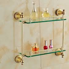 gold finish bathroom glass shelf wall mounted double tier cosmetic holder