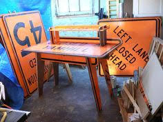 street sign furniture. repurposed vintage street sign tables artistic recycled pinterest repurpose and men cave furniture o