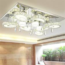 modern led circular flush mount crystal ceiling lights fixture for living room led wireless kitchen ceiling plafond lamp in ceiling lights from lights