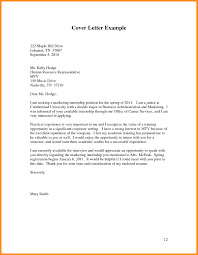 Application Letter Format For Internship Example Cover Professional