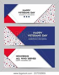 happy veterans day set of vector headers for veterans day in usa facebook cover