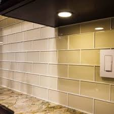 Vapor Glass Subway Tile Kitchen Backsplash With Staggered Edges