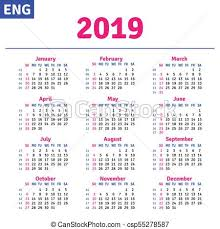 Horizontal Calendar English Calendar 2019