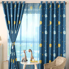 Amazing Blue Planet Printed Kids Curtains For Boy Bedroom Children Room Window  Sheer Custom Made Curtains