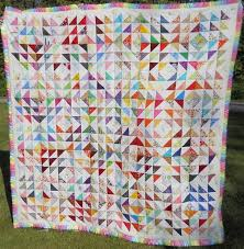 205 best Quilts - Half-Square Triangle Ideas images on Pinterest ... & Scrappy Half Square Triangles Quilt 48 x 54 Adamdwight.com