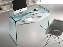 Nervi glass office desk Stunning Office Tonelli Strata Glass Desk With Imac On It And Chair Minimalist Desk Design Ideas Office Tonelli Strata Glass Desk With Imac On It And Chair