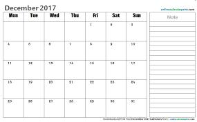 December 2017 Calendar Editable