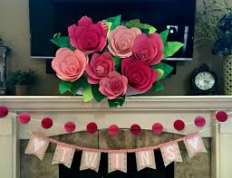 giant paper flower mantle decor