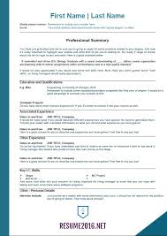 Job Sample Resume 2016 Experience Resumes