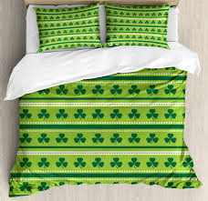 green duvet cover set traditional irish pattern with c happy st patrick s day theme decorative bedding set with pillow shams lime green dark green