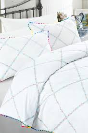 image of nmk pom pom full queen duvet cover 3 piece set white