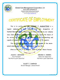 Certificate Of Employment Jeremy