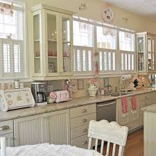 painted kitchen cabinets vintage cream: light cream wooden long old antique kitchen cabinets cream mosaic countertop symmetrical wall mounted kitchen