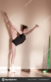 rhythmic gymnastics graceful flexibility stock photo