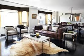 Impressive Living Room With Brown Leather Sofa Of Apartement pertaining to  Decorating A Living Room With