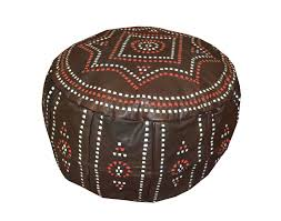 details about handcrafted moroccan brown leather pouf pouffe ottoman hassock footstool