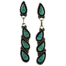 turquoise silver earrings inlaid inlay turquoise earrings sterling silver designer signed vintage native american indian drop