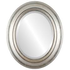 oval mirror frame. Wonderful Oval Lancaster Beveled Oval Mirror Frame In Silver Leaf With Brown Antique Intended