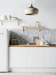 Kitchen: White And Timber Black Hexagon Feature Kitchen Tiles - Kitchen  Walls