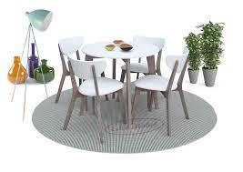 Essgruppe Ester1 Weiß Braun Tisch Rund 4 Polsterstühle Kunstleder Buche Im Skandinavischen Stil 5 Teilig Gratis Lieferung