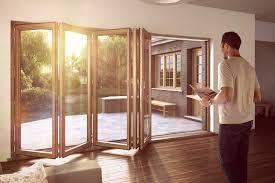 A five panel Sunflex SF75H timber bi-folding door system