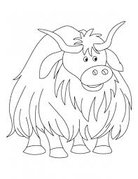 Small Picture himalayan yak color sheets Cartoon animal yak coloring page