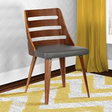 Gray Faux Leather and Walnut Wood Mid-Century Dining Chair-LCSTSIWAGRAY - The Home Depot Armen Living Storm 31 in. Mid