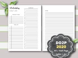 Daily Planner Template 2020 2020 Daily Planner Printable Daily Planner Printable 2020 Daily Planner Inserts A5 Planner Inserts Half Page Letter A4 Filofax Kikki