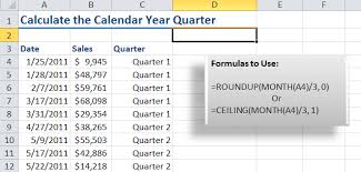 Calendar Quarters How To Calculate The Calendar Year Quarter For A Date In Excel The