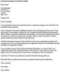 Restaurant Manager Resume Cover Letter Restaurant Manager Cover
