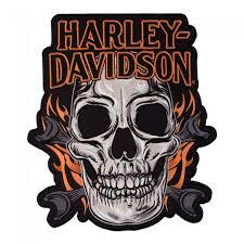 harley davidson mechanic skull flames patch harley davidson