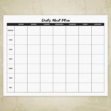Daily Food Planner Daily Meal Planner Printable Digital Download Etsy