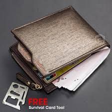baellerry men premium pu leather wallet free survival card tool