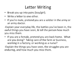 Civil War Letter Assignment Letter Writing Break You Up Into Pairs