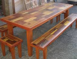 mixed timber dining table with matching bench seats