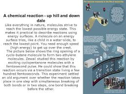 femtosecond chemistry. a chemical reaction - up hill and down dale like everything in nature, molecules strive femtosecond chemistry