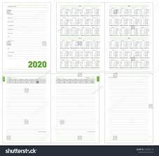 Daily Planner Template 2020 Datebook 2020 Year Diary 2020 Daily Stock Vector Royalty