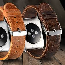 walvodesign classic genuine leather vintage replacement band with black or silver buckle for apple watch series 1 2 3 4