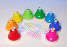Music > chimes and bells > desk bells diatonic 8 notes; Education Essentials Rainbow Desk Bells Set Of 8
