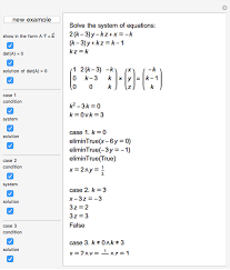system of three linear equations with