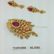designer ruby emerald stone gold plated pendant set y15951840