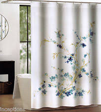 floral shower curtain. Tahari Fabric Cotton Blend Shower Curtain Printemps Watercolor Floral Blue - NEW