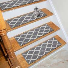 glamour collection gray 9 in x 26 in polypropylene stair tread cover set