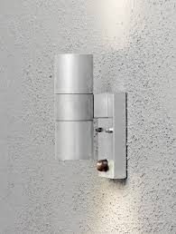 konstsmide modena 2 light outdoor up down wall light galvanised finish with pir sensor 7542 320