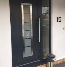 aluminium entrance door with frosted glass in dark grey finish