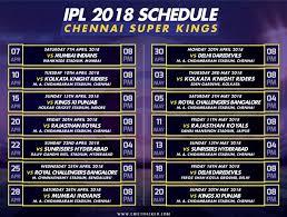 Ipl 2018 Chennai Super Kings Schedule For The Season