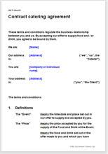 Catering Agreement Contract Catering Agreement Terms Conditions Template