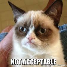 Not Acceptable - Grumpy Cat | Meme Generator via Relatably.com